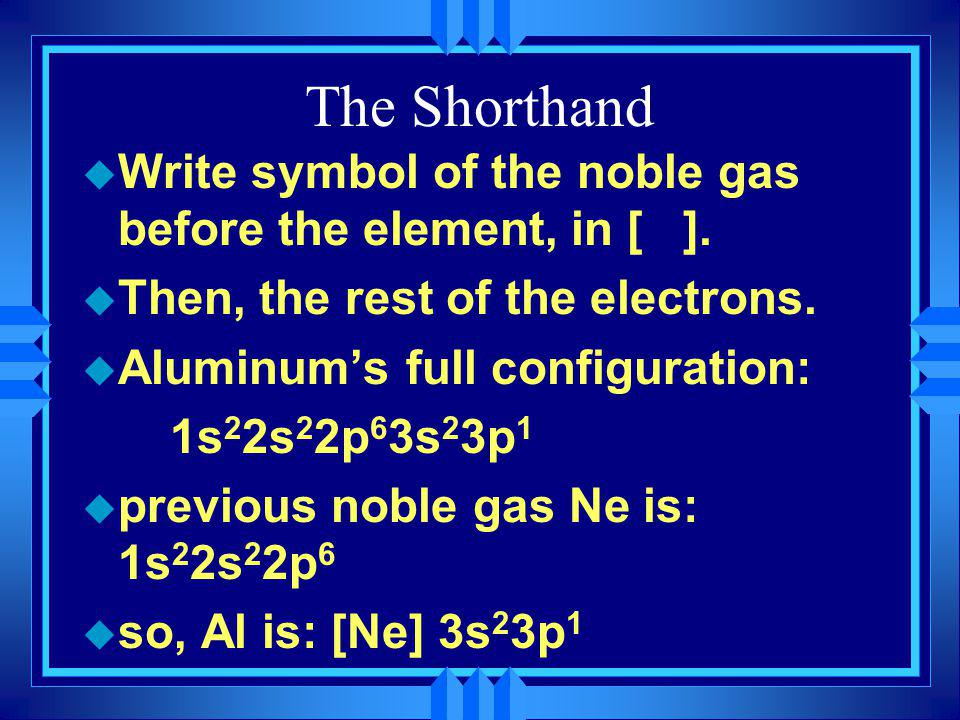 The Shorthand Write symbol of the noble gas before the element, in [ ]. Then, the rest of the electrons.